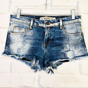 Zara Trafaluc Distressed Cut Off Denim Shorts